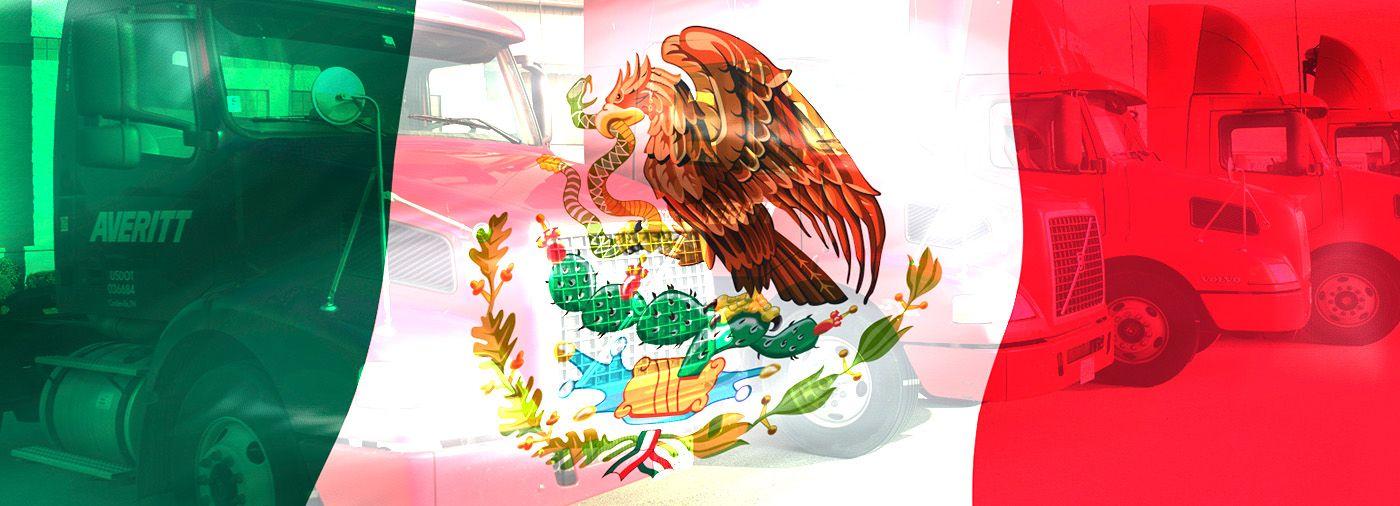 Averitt Trucks With Mexican Flag Overlay