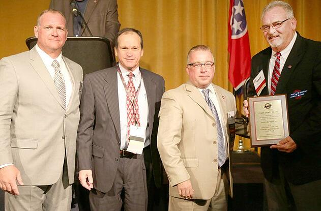 Averitt Express was recently honored by the Tennessee Trucking Association with its 2016 Clean Diesel Award as well as its 2016 Fleet Safety Award. Accepting the honors on behalf of Averitt Express are director of safety and compliance John Walton (second from left), and driving associate Robert Crabtree (right), who also serves as a TTA Road Team Captain.